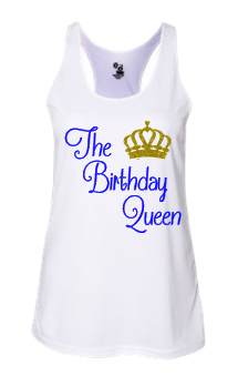 Expressions Customized Womens The Birthday Queen White Tank