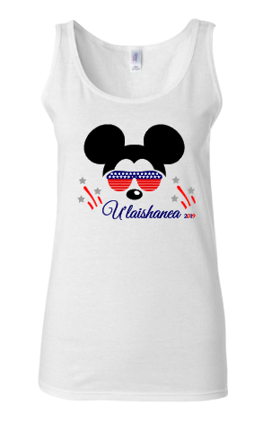 EC Womens 4th Of July Mickey Mouse White Tank
