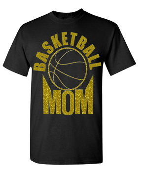 Expressions Customized Basketball MOM Gold/Black Glitter
